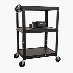 Adjustable-Height Steel Cart with Battery-Powered Device Charger