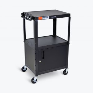 Adjustable-Height Steel AV Cart - Cabinet