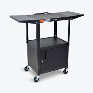Adjustable-Height Steel AV Cart - Cabinet, Drop Leaf