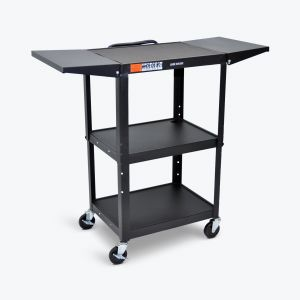 Adjustable-Height Steel AV Cart - Drop Leaf Shelves
