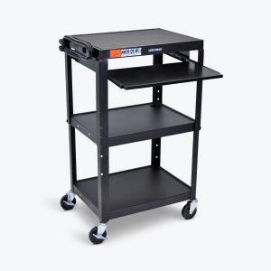 Adjustable-Height Steel AV Cart - Pullout Tray