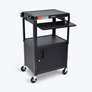 Adjustable Steel AV Cart - Cabinet, Pullout