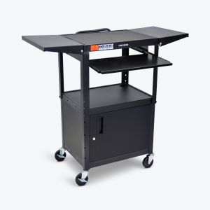 Adjustable-Height Steel AV Cart - Pullout Keyboard Tray, Cabinet, Drop Leaf