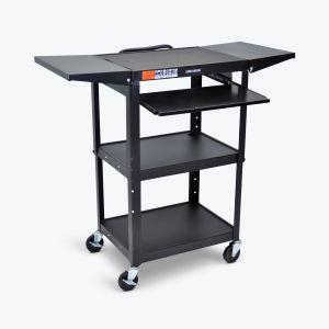 Adjustable-Height Steel AV Cart - Pullout Keyboard Tray, Drop Leaf
