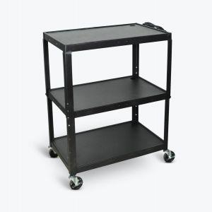Extra-Large Adjustable-Height Steel AV Cart Three Shelves Black Electric