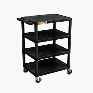 Four Flat-Shelf Structural Foam Plastic Cart