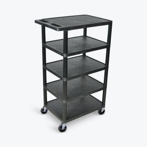 Five Flat-Shelf Structural Foam Plastic Cart