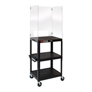 Adjustable-Height Steel Media Cart with Acrylic Sneeze Guard