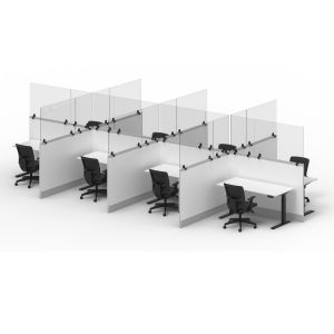 RECLAIM® Acrylic Sneeze Guard Cubicle Wall Extender  -  Clamp-On