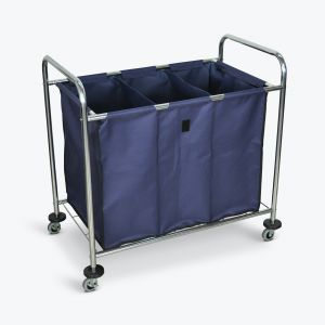 Industrial Laundry Cart - Divided Canvas Bag