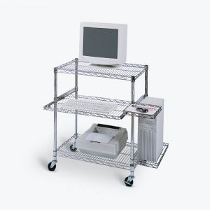 Adjustable Wire Mobile Workstation - Pullout Tray
