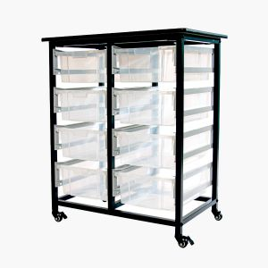 Mobile Bin Storage Unit – Double Row with Large Clear Bins