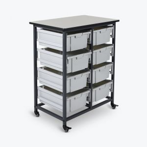 Mobile Bin Storage Unit - Double Row with Large Gray Bins