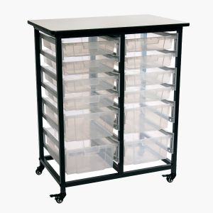 Mobile Bin Storage Unit - Double Row with Large and Small Clear Bins