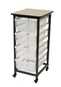 Mobile Bin Storage Unit - Single Row with Large Clear Bins