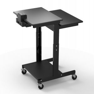 Mobile Computer Cart with Battery-Powered Device Charger
