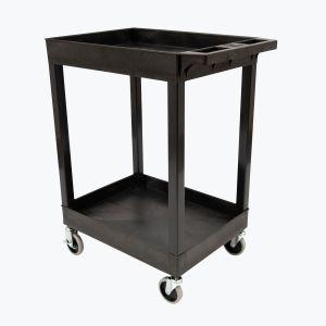 """24"""" x 18"""" Plastic Utility Tub Cart - Two Shelf-Black"""