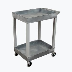 "24"" x 18"" Plastic Utility Tub Cart - Two Shelf-Gray"
