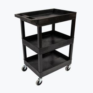 """24"""" x 18"""" Plastic Utility Tub Cart - Three Shelf-Black"""