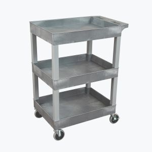 "24"" x 18"" Plastic Utility Tub Cart - Three Shelf-Gray"