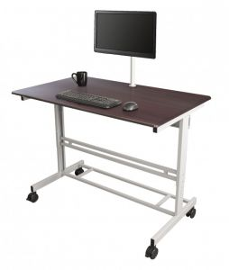 Mobile Fixed Height Standing Desk with Monitor Mount